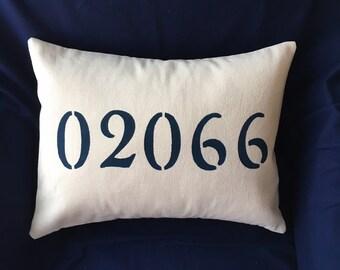 """Zip Code 12x16"""" hand stenciled pillow"""