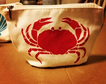"Red Crab stenciled zippered 4x6"" pouch"