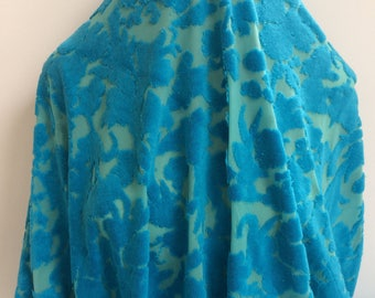 Turquoise Boucle Velour Burn Out with Stretch - Sold by the Yard