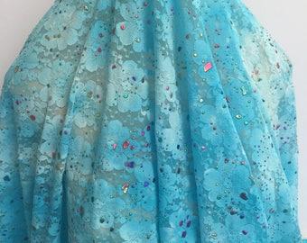 Paint Splatter on Turquoise Lace
