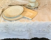 Madeira Linen Tablecloth Vintage Embroidered Cutwork Scalloped Ecru Table Cover 60 quot x 98 quot