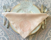 Madeira Organdy Tablecloth 12 Napkins Vintage Peach Handmade Banquet Size Table Cover 69 quot x 138 quot