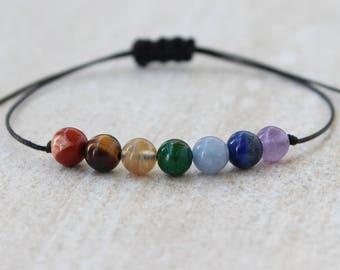 7 Chakra Bracelet Energy Bracelet Meditation Bracelet String Bracelet Yoga Bracelet Gemstone Bracelet Gift ForHer Beaded Bracelets for Women