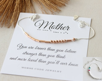 Mothers Day Gift O Mother Bracelet With Birthstones Mom Birthday Rose Gold Sterling Silver Morse Code
