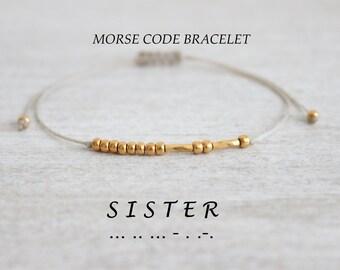 24k Gold Sister Bracelet Sister Birthday Gift Dainty Bead Bracelet Morse Code Delicate Tiny Bracelet Sister Gift Morse Code Bracelet