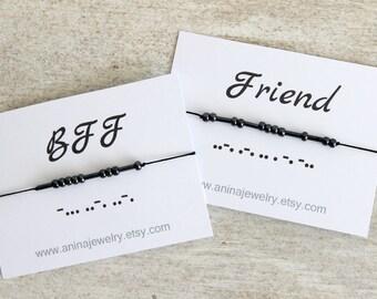 Morse Code Bracelet Best Friend Bracelet Bff Bracelet Friendship Bracelet Set Friend Birthday Gifts Best Friend Gift Friendship Bracelet BFF