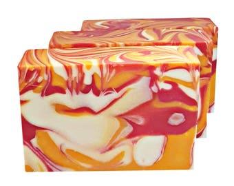 Cold Process Soap Bar, Berry Soap, Pink and Orange Soap, Soap Favors, Bath Soap, Natural Soap, Handmade Soap, Kitchen Soap,  Vegan Soap