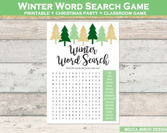 photo relating to Chain Reaction Word Game Printable known as Winter season phrase appear Etsy