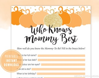 eucalyptus fall autumn who knows mommy best game  pumpkin baby shower watercolor greenery printable game gender neutral