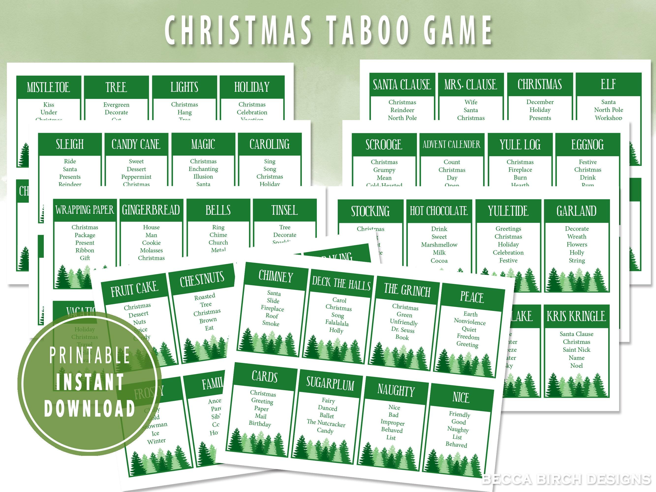 Christmas Taboo Game Printable Winter Game Classroom Game Etsy