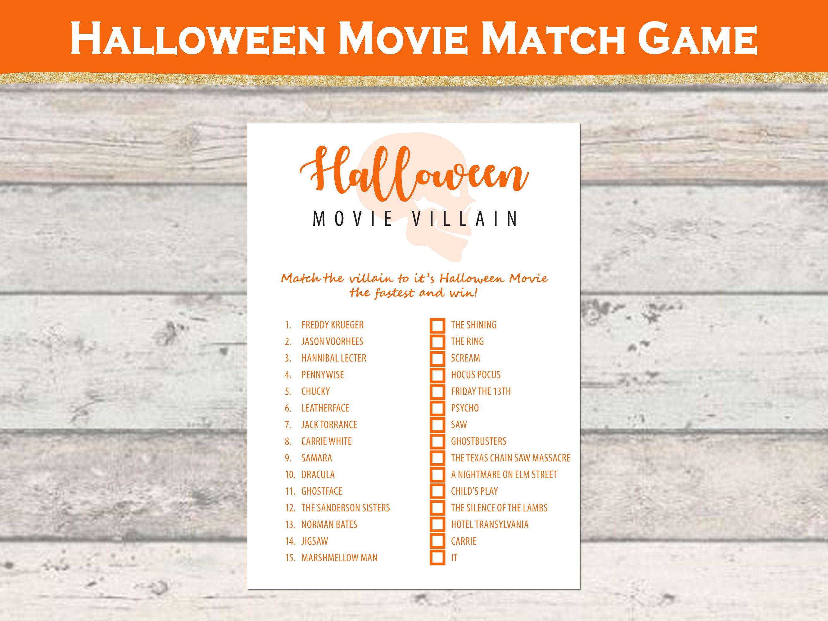 Halloween Movie Match Game – Halloween Games – Classroom Printable Game –  Halloween Party – Printable Games – Instant Download