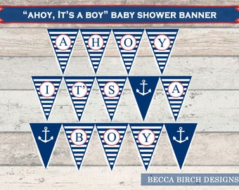 Ahoy, It's A Boy Baby Shower Banner – Nautical Theme – Baby Boy – Baby Shower Decor – Stripes – Anchor – Banner –  Printable