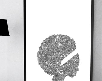 Black Woman Afro Natural Hair Gray Glitter Instant Download Printable Home Decor Wall Art Queen African Lady Women Beauty