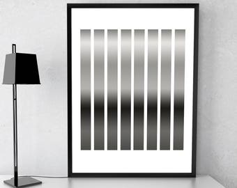 Abstract Print, Abstract Shape Print, Instant Download, Black and White, Printable Art, Wall Art, Home Decor, Minimalist Art