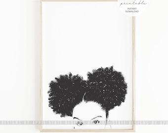 Black Woman Printable Art Natural Hair Afro Puffs Curly African American Black Girl Urban Beautiful Female Illustration Melanin Biracial