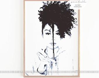 Natural Hair Print, Printable Art, Afro Hair, Curly Hair Art, Black Girl Magic Art, Black female art, Afro hair art, Melanin Art Print, blm