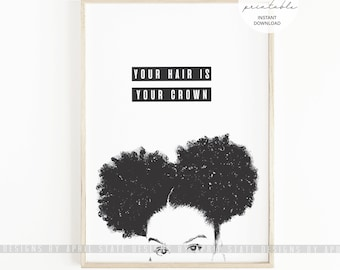 Black Woman Natural Hair Printable Art Afro Puffs Curly Kinky Coily African American Urban Ethnic Biracial Melanin Female Illustration