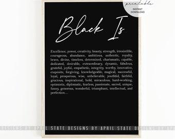 Black Is Print, Definition Print, Black Art, African American Art, Black History, Typography, Afro Art, Black Culture, African Print, Ethnic