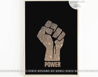 Black Power Fist, Black Pride, African American Art, Glitter, Raised Fist, Black Empowerment, Political Art, Fight The Power, Cuture print