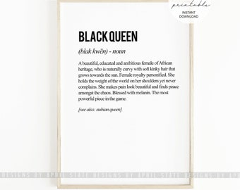 Black Queen Print, Melanin Queen, Definition Art Print, Typographic Art, Black girl, Melanin Print, Black Girls Rock, Beautiful Black Art