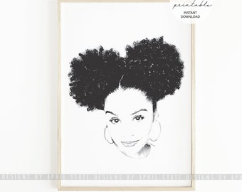 Black Woman Afro Puffs Printable Digital File Biracial Natural Hair African American Art Urban Ethnic Beautiful Female Illustration Curls