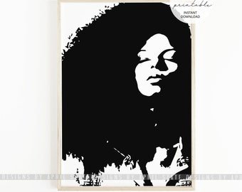 Black Woman Afro Printable Curly Hair Art Black Art African American Large Curls Kinky Curly Hair Black Woman Girl Negro Ethnic Illustration