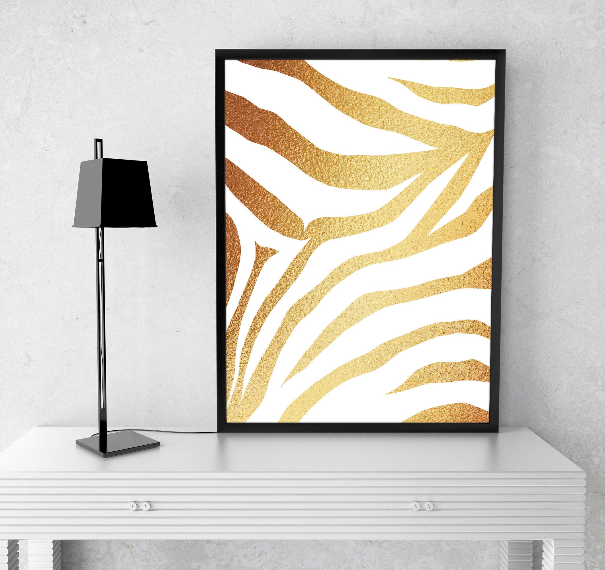 Gold Foil Tiger Animal Print Instant Download Home Decor   Etsy