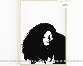 Natural Hair Print Curly Hair Art Black Art African American Large Afro Kinky Curly Hair Black Woman Girl Negro Ethnic Illustration