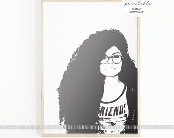 Natural Hair Printable Art Curly Afro Biracial African American Black Woman Ethnic Female Illustration Black Girl Magic Beauty Melanin