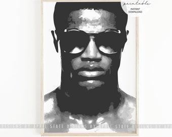 Black Man PRINTABLE Art Tall Dark and Handsome African American Black Masculine Culture Male Melanin Realistic Portrait Illustration