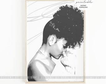 Black Female Natural Hair Illustration Printable Art Curly Kinky Afro Woman with Afro Brown Beautiful Dark Skin Girl Wall Art Black Home