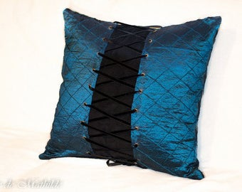"""Blue and Black Corset pillow 19"""" by 19"""""""