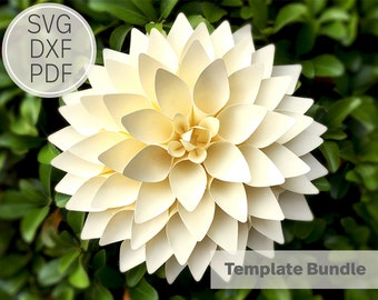 8 inches Paper Dahlia Template| SVG, DXF & Pdf| Template| Cricut and Cameo Silhouette| Paper Flower DIY