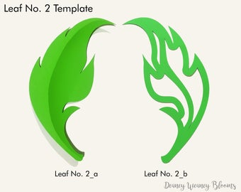 SVG and PDF Printable Digital Leaf - Template # 2 - 2 kinds. Cricut and print Ready- Adjustable