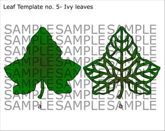 SVG and PDF Printable Digital Leaf - Template # 5 Ivy leaf - 2 kinds - Cricut and print Ready- Adjustable