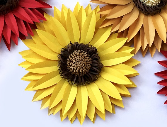 Diy Paper Sunflower Svg And Pdf Digital 13 Inches Large Etsy