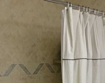 Shower Curtain Hemp Cotton Recycled Fabric With Upcycled Suede Trim 72 Inches X