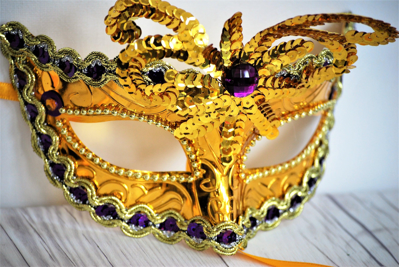 Gold and Purple Mask Mardi Gras Mask Carnival Masquerade | Etsy