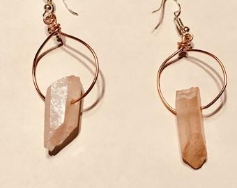 Rose quartz hoop earrings