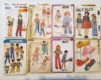 Lot of Vintage Sewing Patterns, Simplicity, McCalls, Kids Size 3, Dress, Tops, Skirt, Shorts, Jacket, Pants, 1970s Patterns