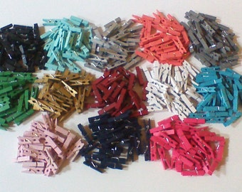 """Mini Clothespins, Small Wood Clothespins, Tiny Colored Painted Clothespins, 1.5"""" Craft Suppy, Coral Silver Teal Gold Green Navy Blue Pink"""