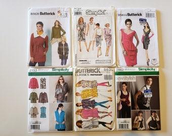 Lot of Vintage Sewing Patterns Butterick Simplicity Size 6, 8, 10, 12, 14 Womens Dress Tops Skirt Shorts Jacket Pants UNCUT Patterns