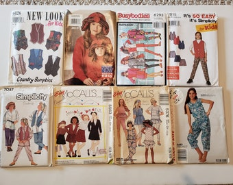 Lot of Vintage Sewing Patterns, McCalls, New Look, Simplicity Kids Size 7, 8, 9, 10 Kids Dress Tops Skirt Shorts Jacket Pants UNCUT Patterns