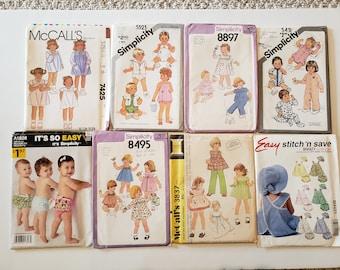 Lot of Vintage Sewing Patterns, McCalls, Simplicity, Baby, Infant, 12 Months, Kids Size 1 Kids Dress Tops Skirt Jacket Pants UNCUT Patterns