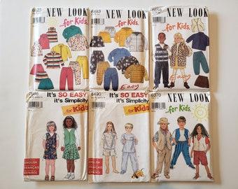 Lot of Vintage Sewing Patterns, New Look, Simplicity, Kids Size 3, 4, 5, 6, 7, 8, Kids Dress Tops Skirt Shorts Jacket, Pants, UNCUT Patterns