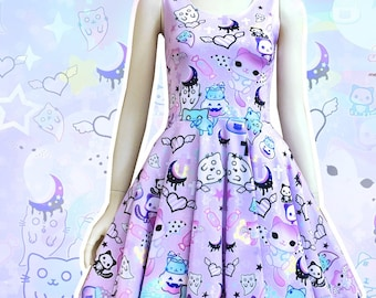 Magic cats - pastel goth skater dress, kawaii Halloween skater dress, fairy kei dress, kawaii goth, harajuku, creepy cute dress -  SD30