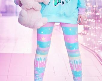 803a148d5d687a Milky rainbow - Tights - kawaii sweet , fairy kei , cute lolita , pastel,  pink and blue striped, melty, stars, yume kawaii tights - Tg4