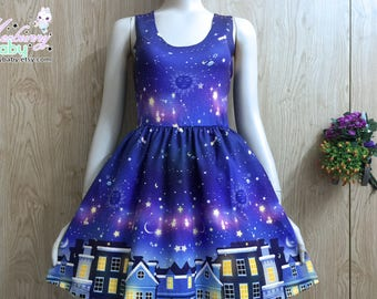 City of stars - Scoop neck skater dress, galaxy skater dress, constellation skater dress, fairy kei dress, cute kawaii skater dress -  SND2