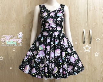 Unicorn and narwhal - cute kawaii skater dress, narwhals unicorns skater dress, stars moons clouds fairy kei dress, plus sizes dress -  SD32