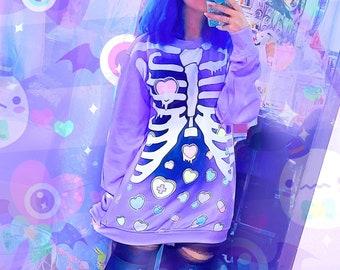 Broken hearts - Unisex sweatshirt - Rib cage, kawaii cute , purple, pastel goth, menhera, yami kawaii, skeleton, harajuku - SS17